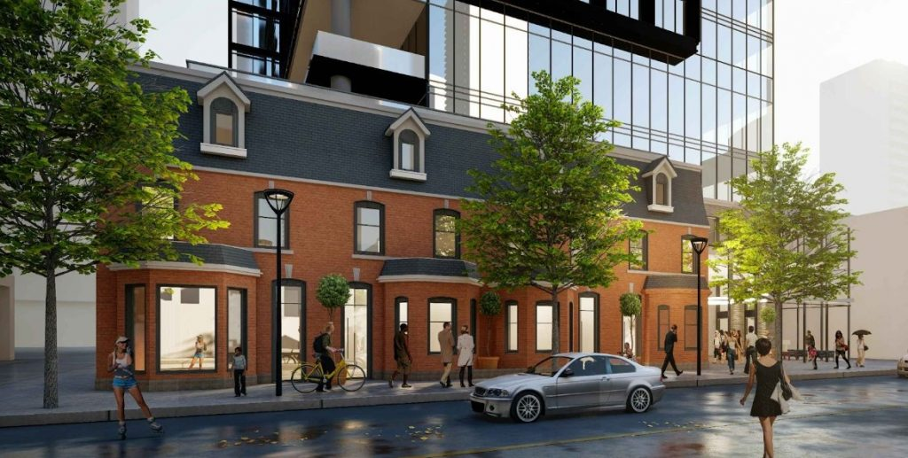 rendering 8 wellesley residences exterior building podium with street view
